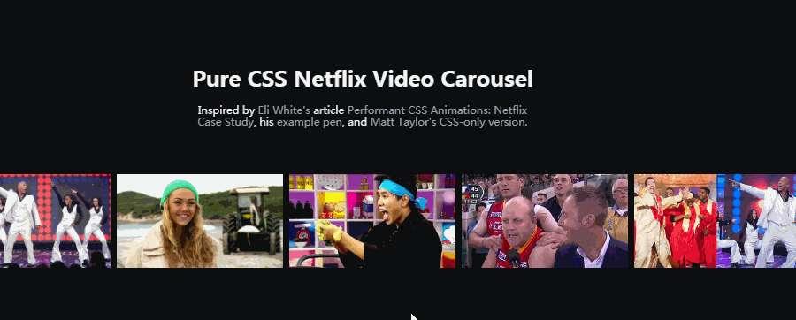 Pure CSS Netflix Video Carousel Template
