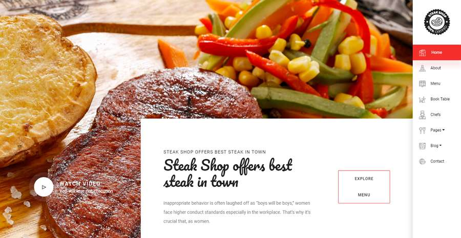 Steakshop Clean Website Template