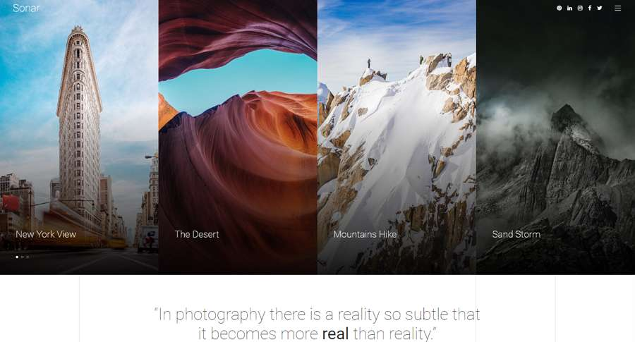 Sonar Minimal Photography Website Template for Beginner