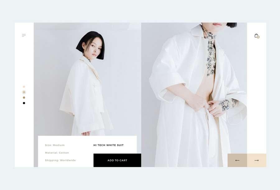 Web design trend 2019 - 6 minimalistic product page