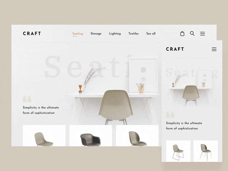 Web design trends 2019 - 7 furniture store responsive design