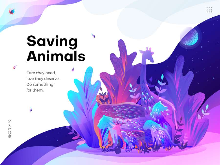 Web design trends 2019 - 8 gradients illustration