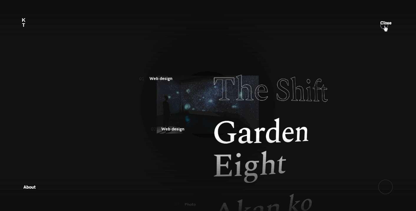 Kenta Toshikura – creative black and white web design example