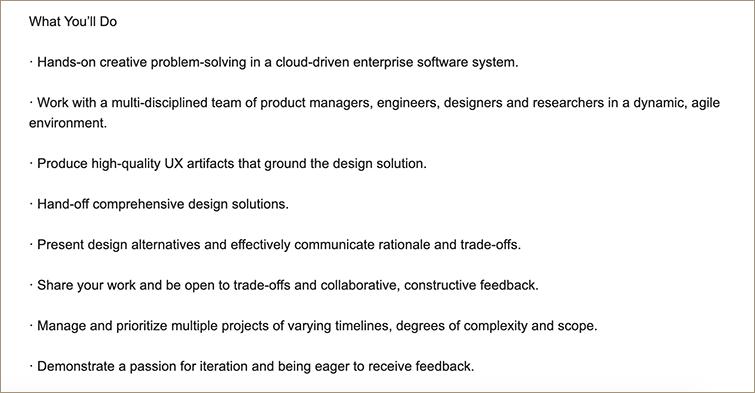 UX designer requirement of Oracle