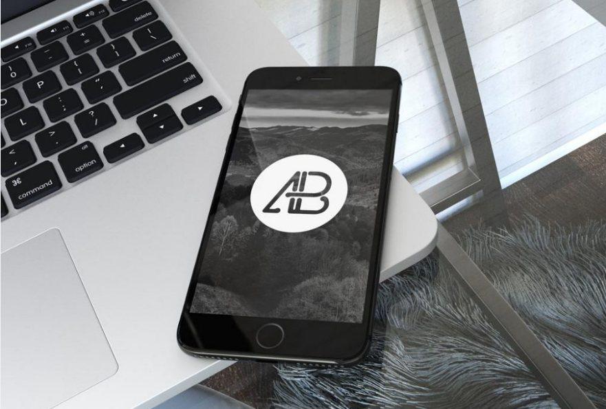 Jet-Black iPhone 7 Plus on Office Table Mockup