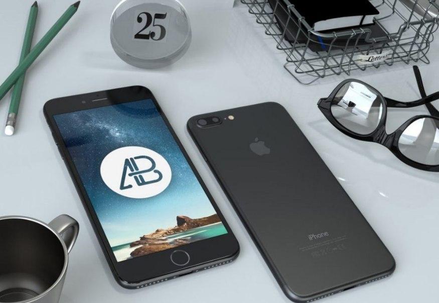 iPhone 7 Plus on Desk Mockup