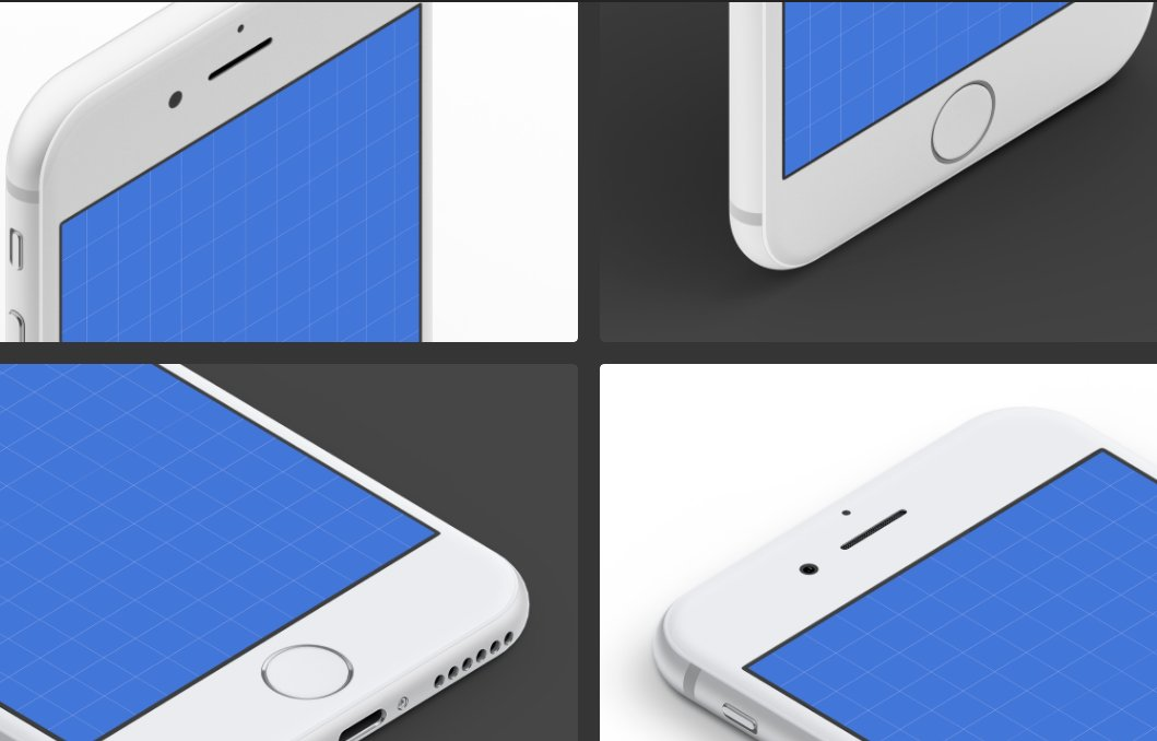 Isometric iPhone 7 Mockups: White