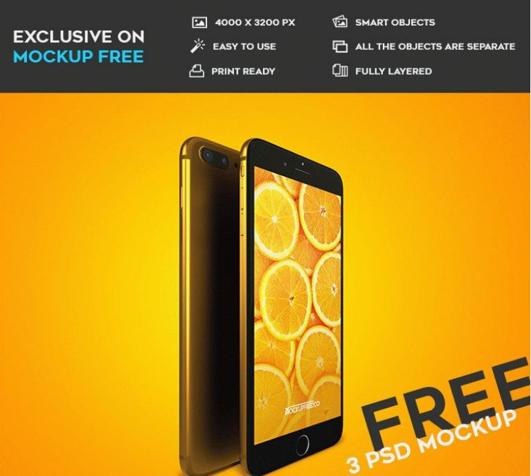 iPhone 7 Plus – 3 Free PSD Mockups