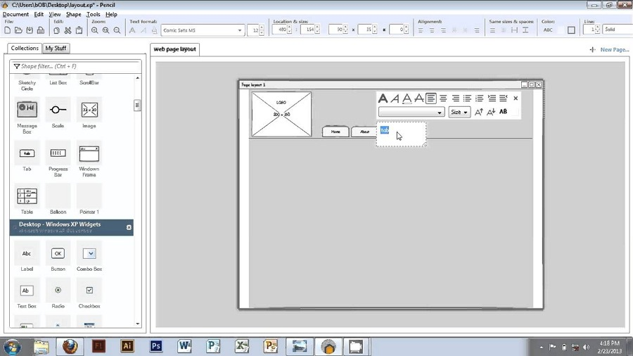 GUI prototyping tool for Mac Pencil Project