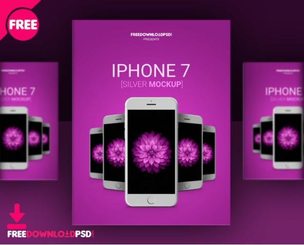 iPhone 7 Silver Mockup