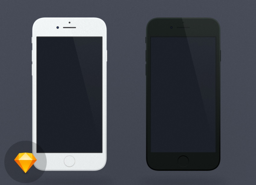 Flat iPhone 7 Sketch mockup