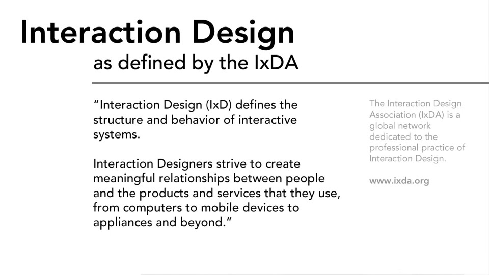 what is interaction design by IxDA