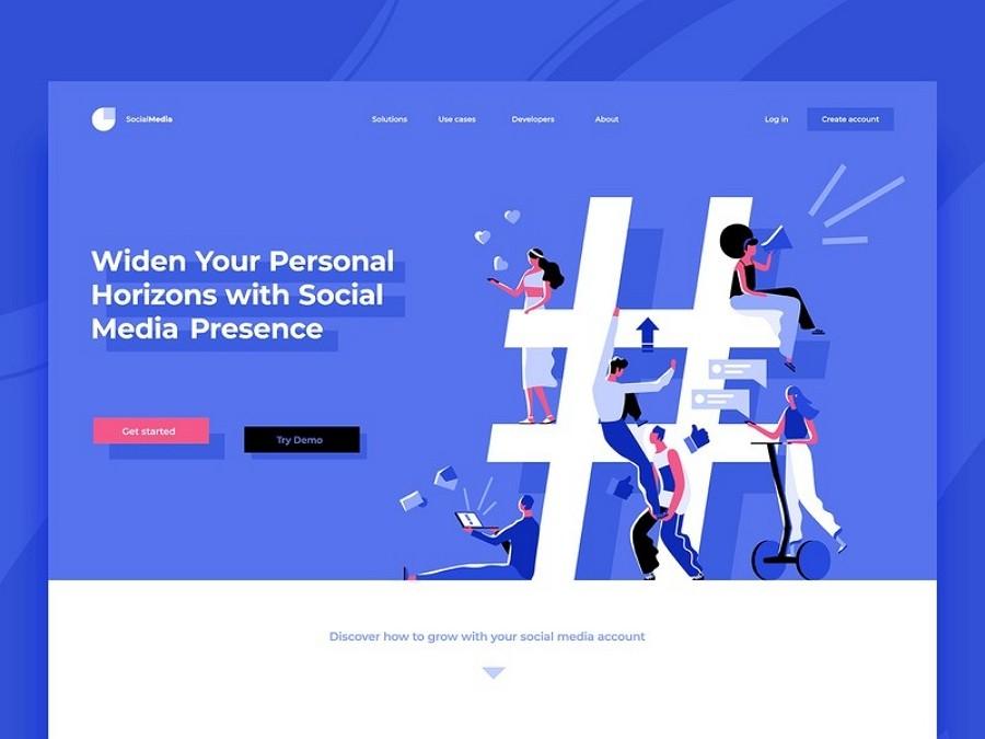 Flat web design - Shades of Social Media