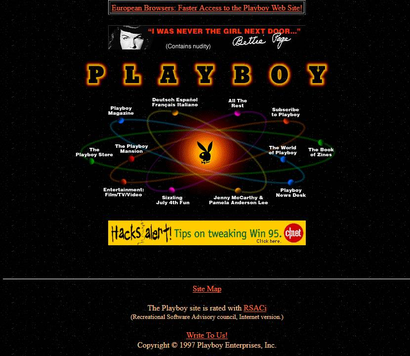 Playboy website looked like in 1997