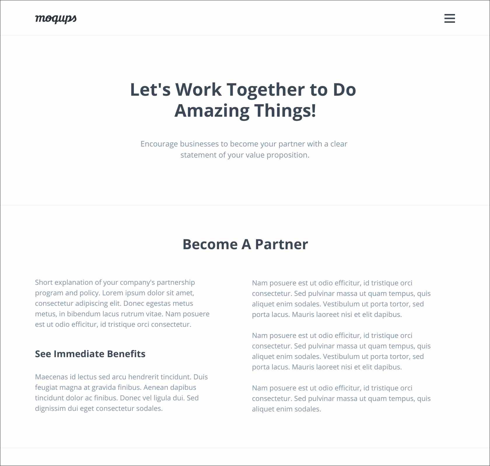 Partnership page template