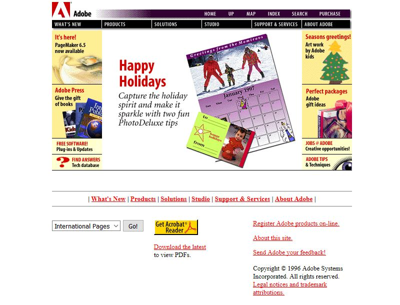 Adobe website looked like in 1996