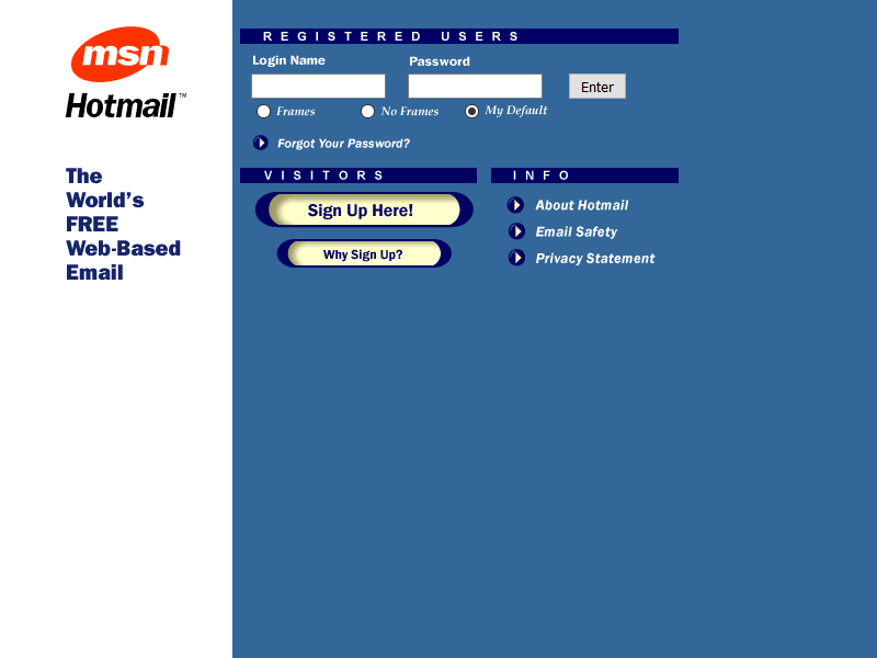 Hotmail website looked like in 1998
