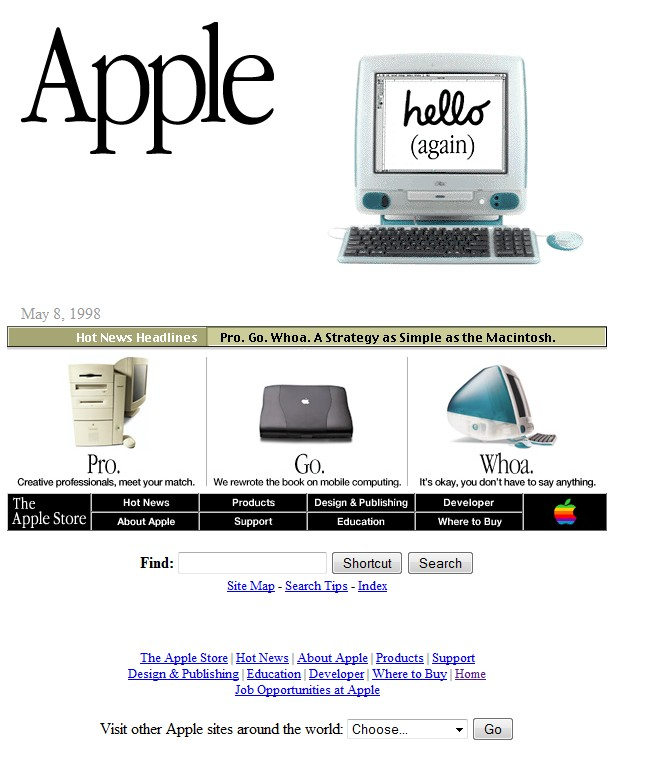 Apple website looked like in 1998