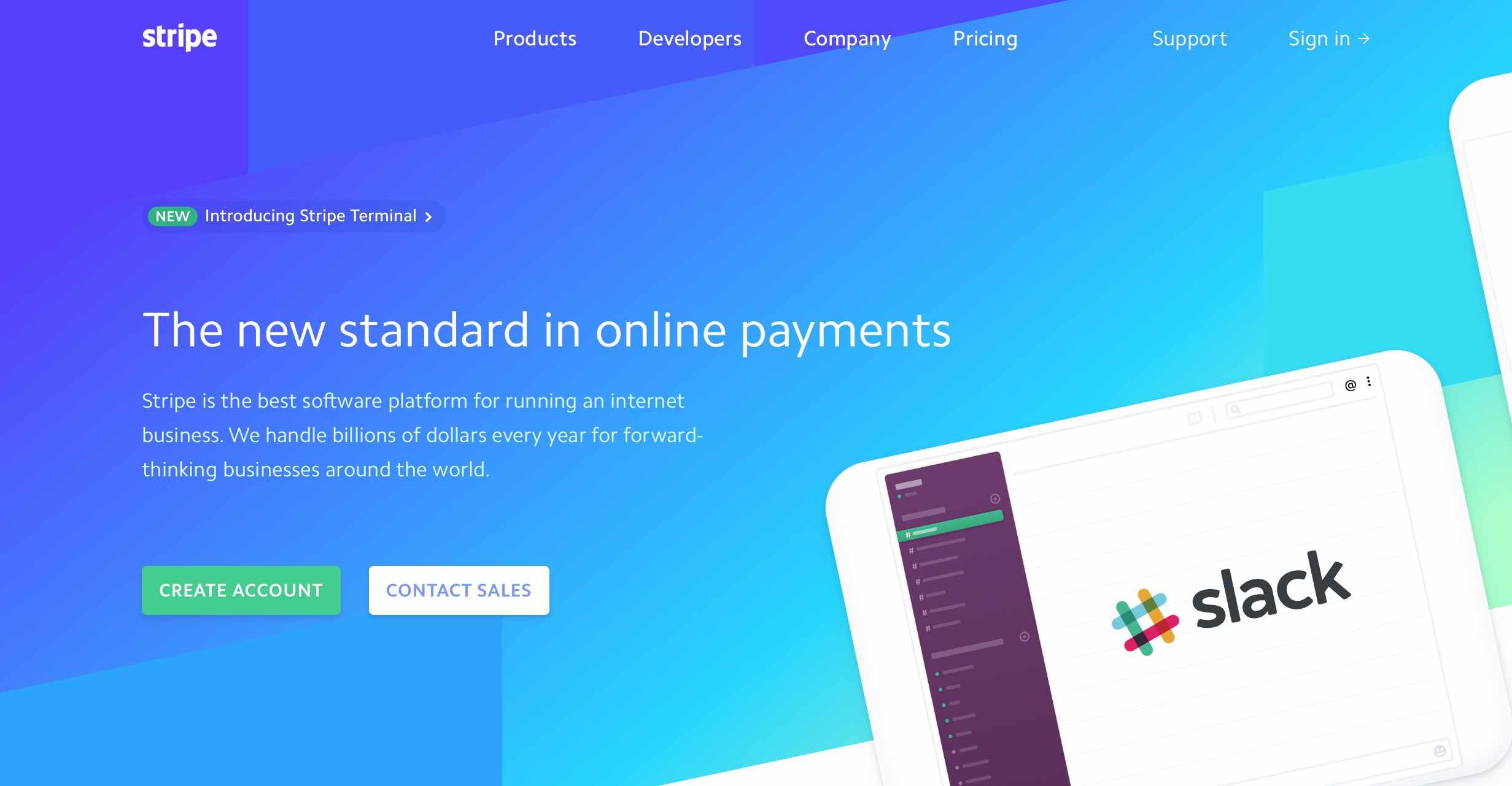 Main Menu of Stripe Website