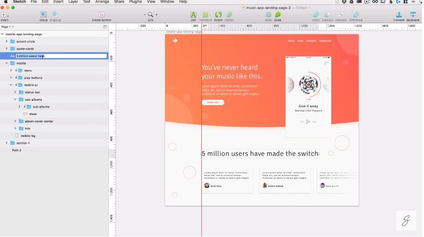 SketchApp Tutorial – Build a music app landing page inSketch
