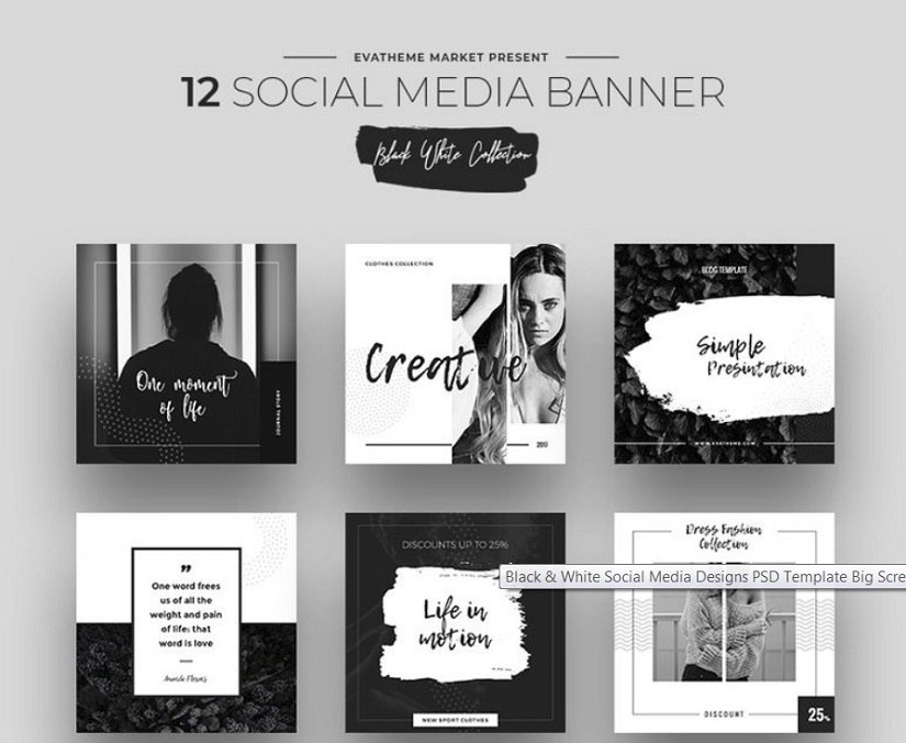 Black & White Social Media Designs PSD Template