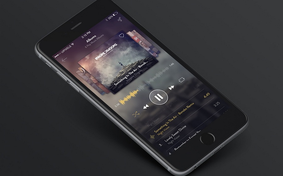 iPhone 6 Songs App Design PSD