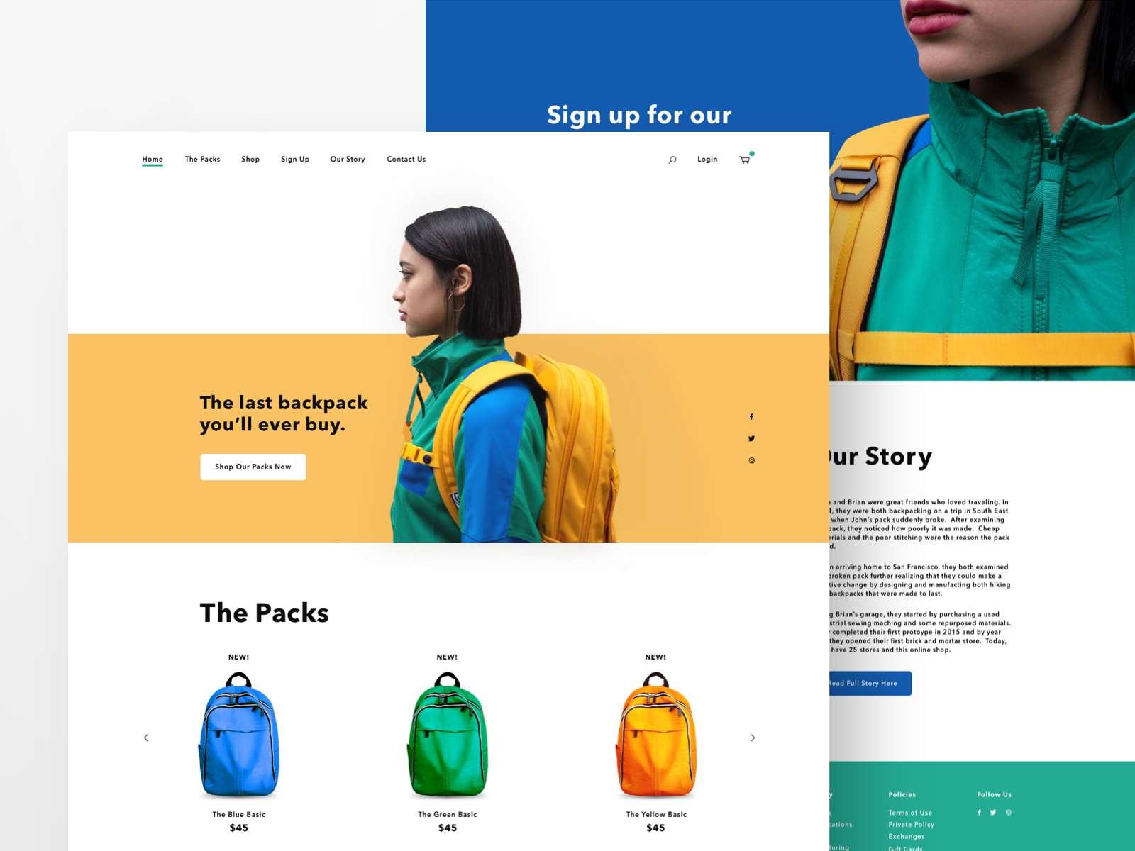 Website design inspiration – Backpacks
