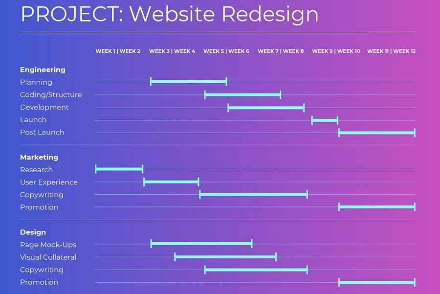 Website Redesign Gantt Chart Example