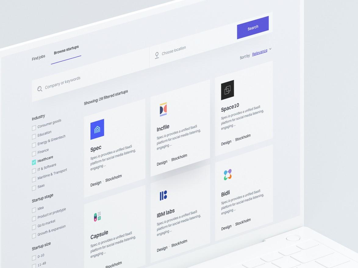 Website design inspiration – H -Startup Listing
