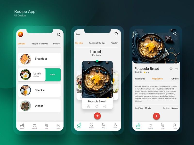 Recipe App UI design
