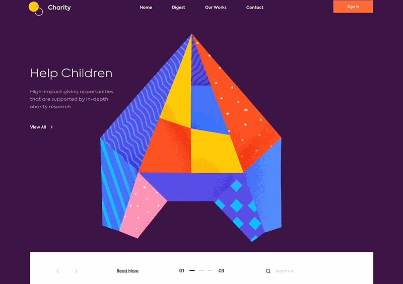 Web design inspiration - landing page above the fold Charity.gif