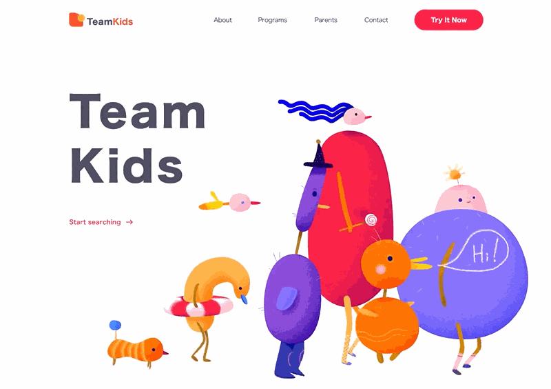 Web design inspiration - TeamKids.gif