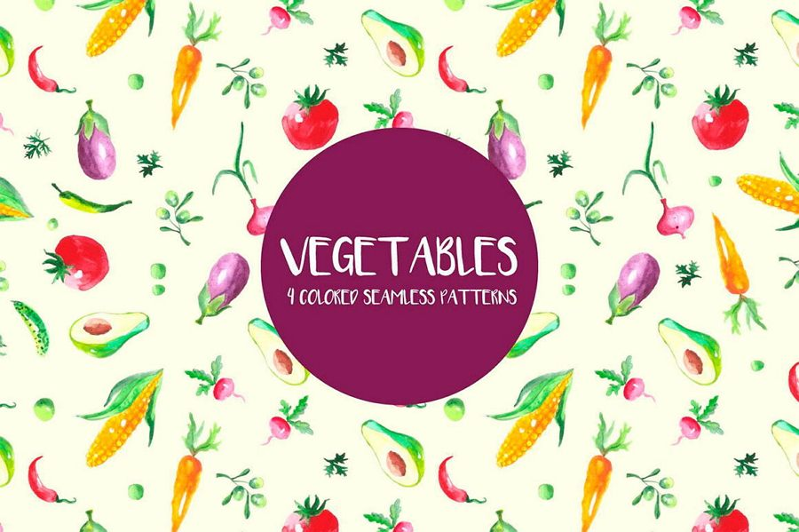 Watercolor Vegetables Vector Seamless Free Pattern