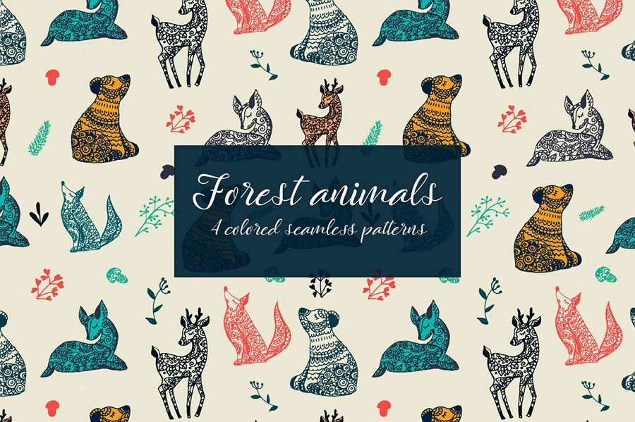 Forest Animals Vector Seamless Free Pattern