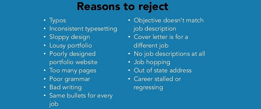 Reasons to reject