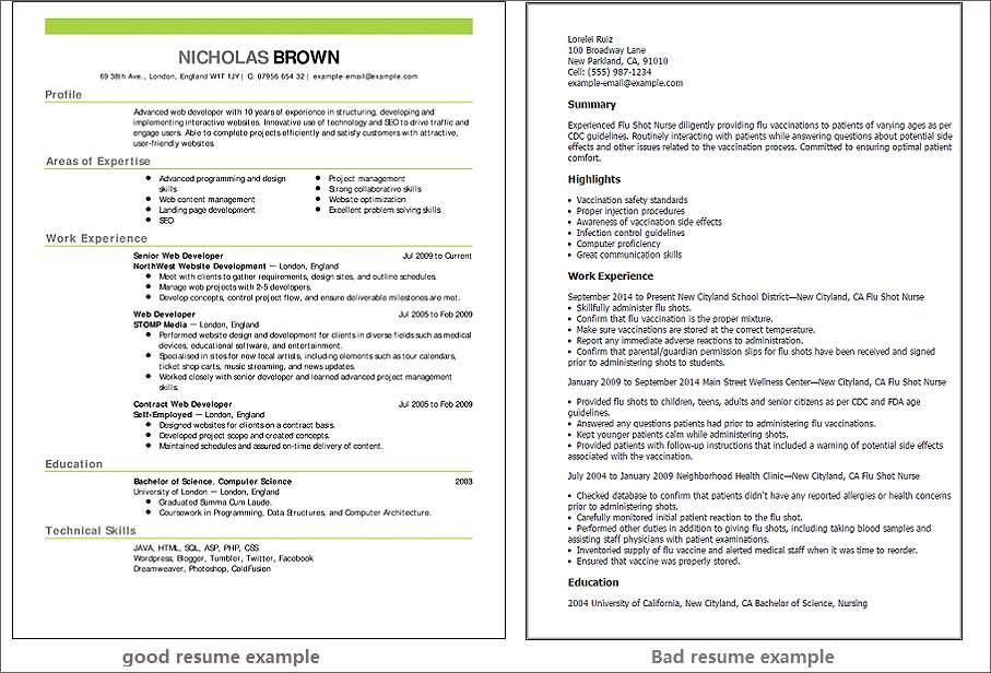 Good resume example vs bad resume example