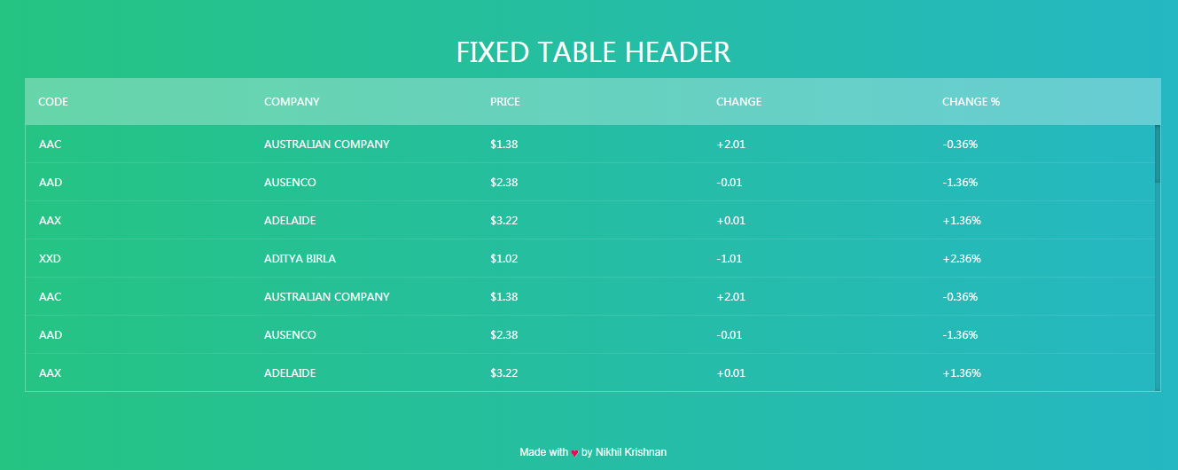 Free CSS Table with Fixed Header