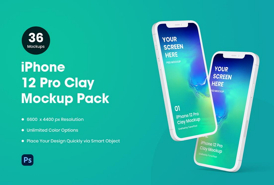 iPhone 12 Pro Clay Mockup Pack