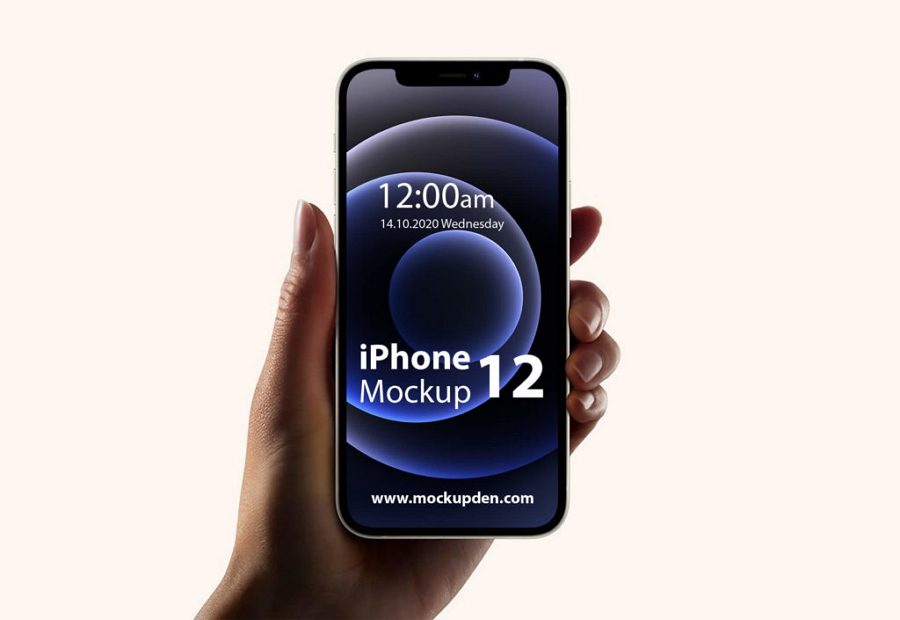 Free iPhone 12 in Hand Mockup Template
