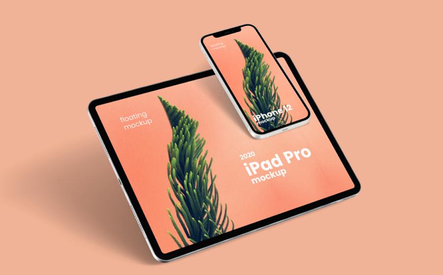 Floating iPhone 12 & iPad Pro Free Mockup
