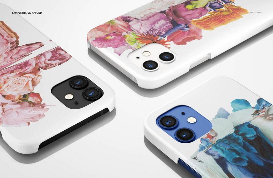 iPhone 12 Matte Snap Case Mockup Set