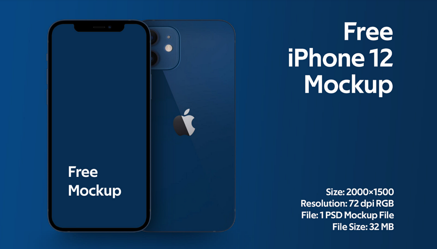 iPhone 12 Free Mockup PSD Web