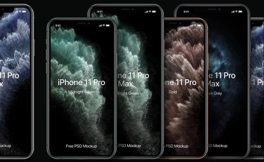 Free iPhone 11 Pro Mockup Set PSD