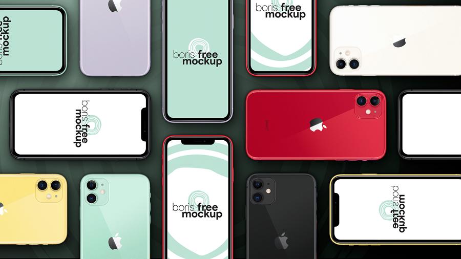 Free PSD Flat iPhone 11 Pro Max Mockup