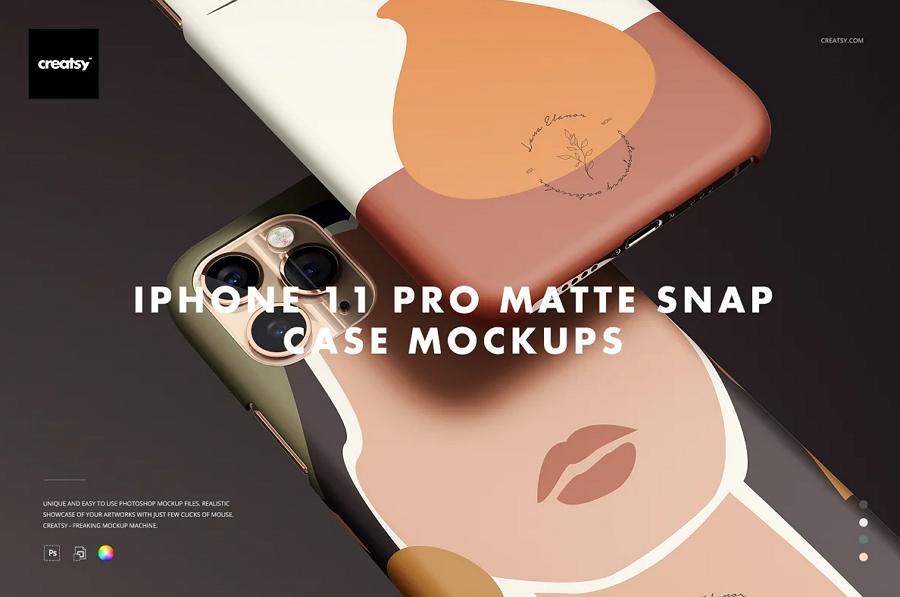 Free iPhone 11 Matte Snap Case Mockup