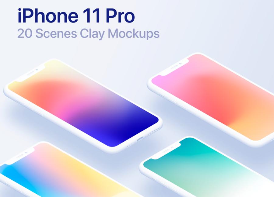 iPhone 11 Pro Mockups Clay Scenes