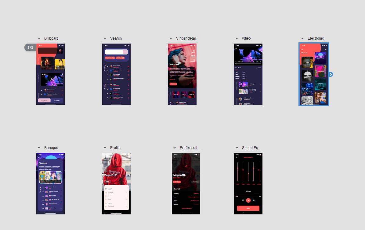Holo Music App Screens