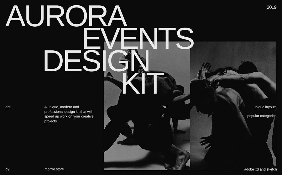 Aurora Events Design Kit Sketch & Adobe XD