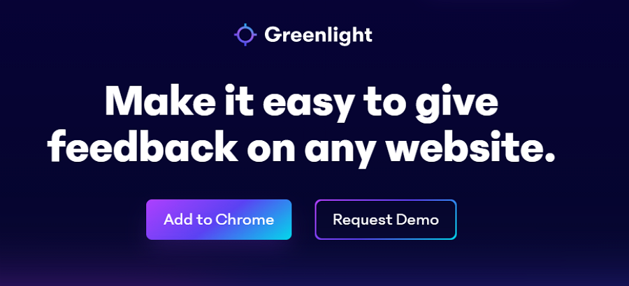 Website landing page with a dark blue background