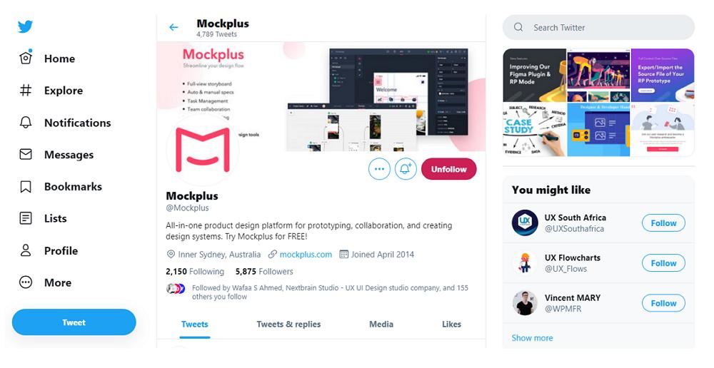 Twitter Used vertical navigation